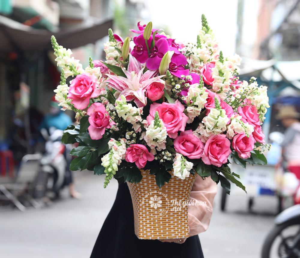 hoa sinh nhật sắc hồng