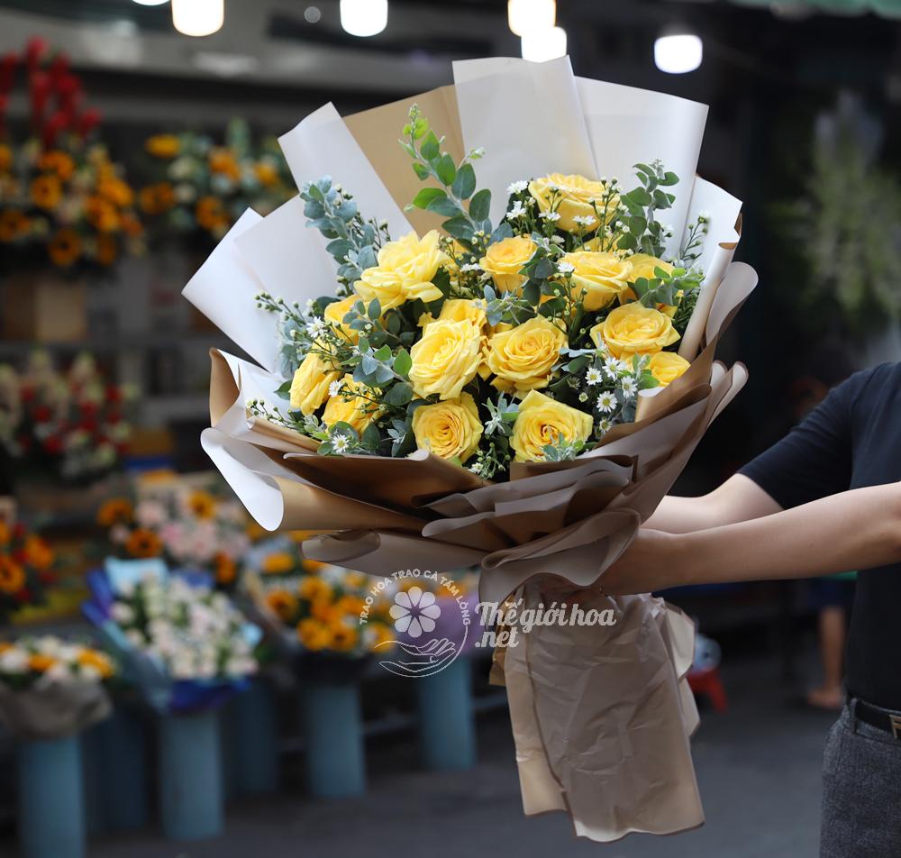 hoa sinh nhật hồng vàng tuyệt đẹp