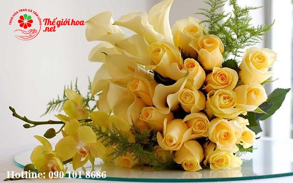 hoa hồng vàng phong thủy